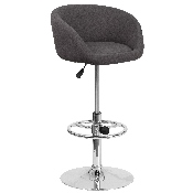 Contemporary Charcoal Fabric Adjustable Height Barstool with Barrel Back and Chrome Base