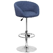 Contemporary Blue Fabric Adjustable Height Barstool with Barrel Back and Chrome Base