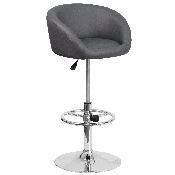 Contemporary Gray Vinyl Adjustable Height Barstool with Barrel Back and Chrome Base
