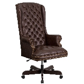 High Back Traditional Fully Tufted Brown LeatherSoft Executive Swivel Ergonomic Office Chair with Arms