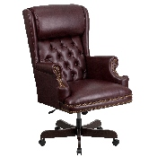 High Back Traditional Tufted Burgundy LeatherSoft Executive Ergonomic Office Chair with Oversized Headrest & Arms