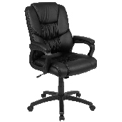 Flash Fundamentals Big & Tall 400 lb. Rated Black LeatherSoft Swivel Office Chair with Padded Arms, BIFMA Certified
