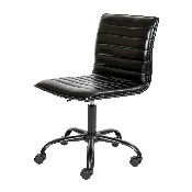 Low Back Designer Armless Black Ribbed Swivel Task Office Chair with Black Frame and Base