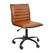 Low Back Designer Armless Brown Ribbed Swivel Task Office Chair with Black Frame and Base