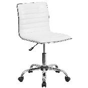 Low Back Designer Armless White Ribbed Swivel Task Office Chair
