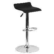 Contemporary Black Vinyl Adjustable Height Barstool with Solid Wave Seat and Chrome Base