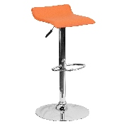 Contemporary Orange Vinyl Adjustable Height Barstool with Solid Wave Seat and Chrome Base
