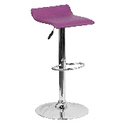 Contemporary Purple Vinyl Adjustable Height Barstool with Solid Wave Seat and Chrome Base