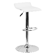 Contemporary White Vinyl Adjustable Height Barstool with Solid Wave Seat and Chrome Base