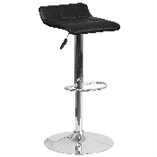 Contemporary Black Vinyl Adjustable Height Barstool with Quilted Wave Seat and Chrome Base
