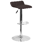 Contemporary Brown Vinyl Adjustable Height Barstool with Quilted Wave Seat and Chrome Base