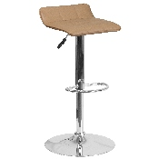 Contemporary Cappuccino Vinyl Adjustable Height Barstool with Quilted Wave Seat and Chrome Base