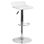 Contemporary White Vinyl Adjustable Height Barstool with Quilted Wave Seat and Chrome Base