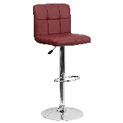 Contemporary Burgundy Quilted Vinyl Adjustable Height Barstool with Chrome Base