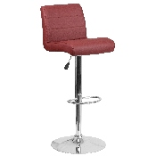 Contemporary Burgundy Vinyl Adjustable Height Barstool with Rolled Seat and Chrome Base