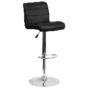 Contemporary Black Vinyl Adjustable Height Barstool with Rolled Seat and Chrome Base