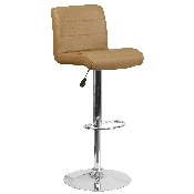 Contemporary Cappuccino Vinyl Adjustable Height Barstool with Rolled Seat and Chrome Base