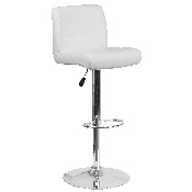 Contemporary White Vinyl Adjustable Height Barstool with Rolled Seat and Chrome Base