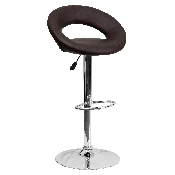 Contemporary Brown Vinyl Rounded Orbit-Style Back Adjustable Height Barstool with Chrome Base