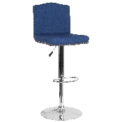 Bellagio Contemporary Adjustable Height Barstool with Accent Nail Trim in Blue Fabric