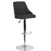 Trieste Contemporary Adjustable Height Barstool in Black Fabric