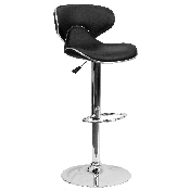 Contemporary Cozy Mid-Back Black Vinyl Adjustable Height Barstool with Chrome Base