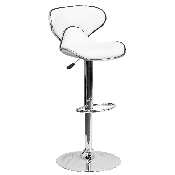 Contemporary Cozy Mid-Back White Vinyl Adjustable Height Barstool with Chrome Base