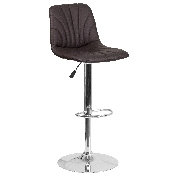 Contemporary Brown Vinyl Adjustable Height Barstool with Embellished Stitch Design and Chrome Base