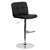 Contemporary Black Vinyl Adjustable Height Barstool with Square Tufted Back and Chrome Base