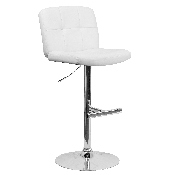 Contemporary White Vinyl Adjustable Height Barstool with Square Tufted Back and Chrome Base