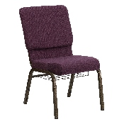 HERCULES Series 18.5''W Church Chair in Plum Fabric with Cup Book Rack - Gold Vein Frame
