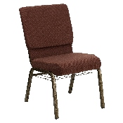 HERCULES Series 18.5''W Church Chair in Brown Fabric with Cup Book Rack - Gold Vein Frame