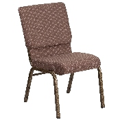 HERCULES Series 18.5''W Stacking Church Chair in Brown Dot Fabric - Gold Vein Frame