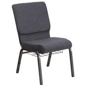 HERCULES Series 18.5''W Church Chair in Dark Gray Fabric with Book Rack - Silver Vein Frame