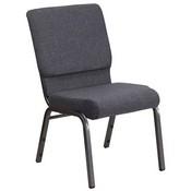 HERCULES Series 18.5''W Stacking Church Chair in Dark Gray Fabric - Silver Vein Frame