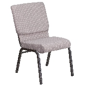 HERCULES Series 18.5''W Stacking Church Chair in Gray Dot Fabric - Silver Vein Frame