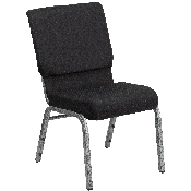 HERCULES Series 18.5''W Stacking Church Chair in Black Patterned Fabric - Silver Vein Frame