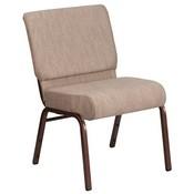 HERCULES Series 21''W Stacking Church Chair in Beige Fabric - Copper Vein Frame