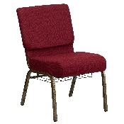 HERCULES Series 21''W Church Chair in Burgundy Fabric with Cup Book Rack - Gold Vein Frame