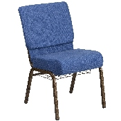 HERCULES Series 21''W Church Chair in Blue Fabric with Cup Book Rack - Gold Vein Frame
