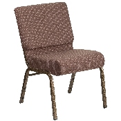 HERCULES Series 21''W Stacking Church Chair in Brown Dot Fabric - Gold Vein Frame