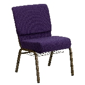 HERCULES Series 21''W Church Chair in Royal Purple Fabric with Cup Book Rack - Gold Vein Frame