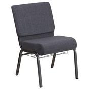 HERCULES Series 21''W Church Chair in Dark Gray Fabric with Book Rack - Silver Vein Frame