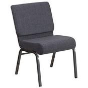 HERCULES Series 21''W Church Chair in Dark Gray Fabric - Silver Vein Frame