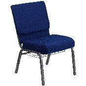 HERCULES Series 21''W Church Chair in Navy Blue Fabric with Cup Book Rack - Silver Vein Frame