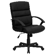 Mid-Back Black LeatherSoft Swivel Task Office Chair with Arms, GO-1004-BK-LEA-GG