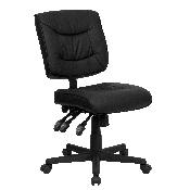 Mid-Back Black LeatherSoft Multifunction Swivel Ergonomic Task Office Chair