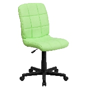 Mid-Back Green Quilted Vinyl Swivel Task Office Chair