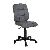 Mid-Back Gray Quilted Vinyl Swivel Task Office Chair