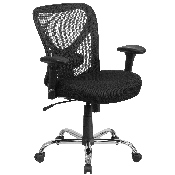 Big & Tall Office Chair - Adjustable Height Mesh Swivel Office Chair with Wheels